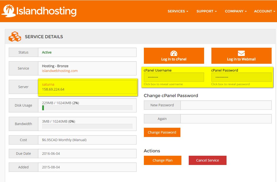 Islandhosting service details - server name and credentials